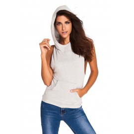 Gray Hooded Cross Back Vest Casual Top