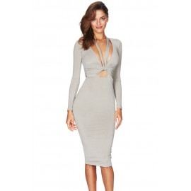Gray Multi way Deep V Neck Knot Tie Long Sleeve Midi Dress