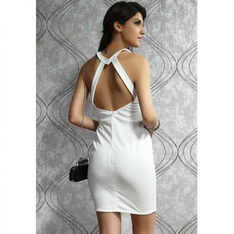 Around We Go Cutout Halter Bodycon Dress White