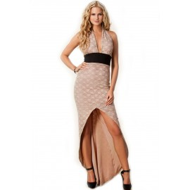 V-Neck Halter Flowery Lace Evening Dress Beige