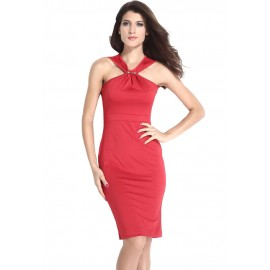 Halter Neck Solid Red Midi Bodycon Evening Dress