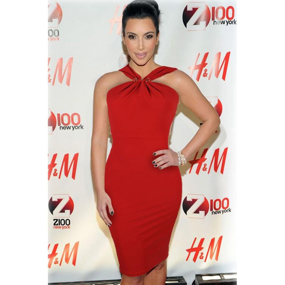 Halter Neck Solid Red Midi Bodycon Evening Dress