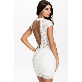 High Neck Backless White Lace Party Mini Dress