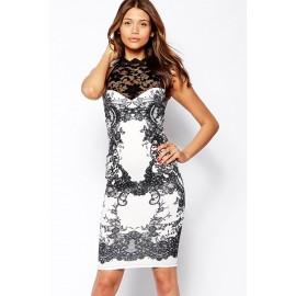 High Neck Glitter Lace Body Conscious Dress