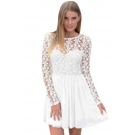 Innocent White Embroidered Princess Skater Mini Dress