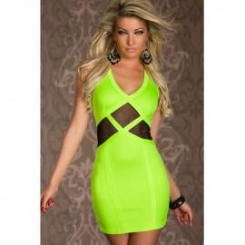 Fluorescein Tulle Insert Mini Dress