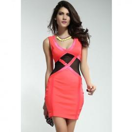 Orange Tulle Insert Mini Dress