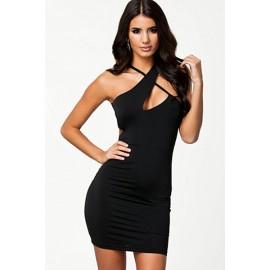 Irregular V-Neck Style Black Night Club Party Mini Dress