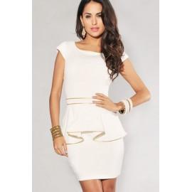 White Gold Trim Back Zipper Party Peplum Dress