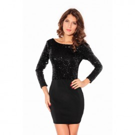 Sparkling Sequin Cowl Dress With Jersey Skirt Black