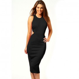 Kate Hollow Out Midi Dress Black