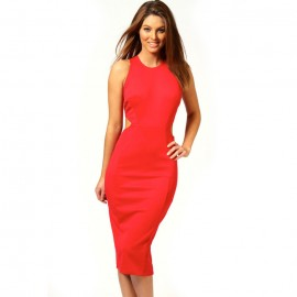 Kate Hollow Out Midi Prom Bodycon Dress Red