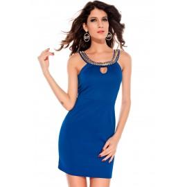Keyhole Unusual Gold Chain Neckline Mini Dress Blue