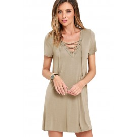 Khaki Casual Lace-up Swing Skater Mini Dress Cover Up