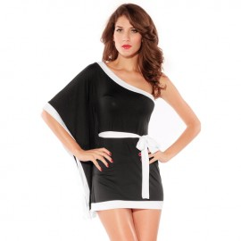 Kimono Fashion Mini Dress With Belt Black And White