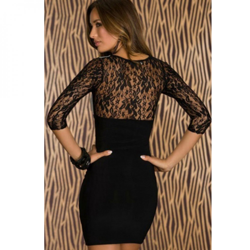 Unbalanced Lace Sleeves Bodycon Dress Black White