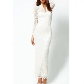 Elegantly Lace Long Sleeves V Neck Maxi Dress White