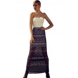 Lace Maxi Black Skirt White Bandeau Dress