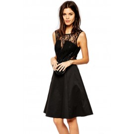Lace Midi Skater Backless Dress with Embellished Waist Black