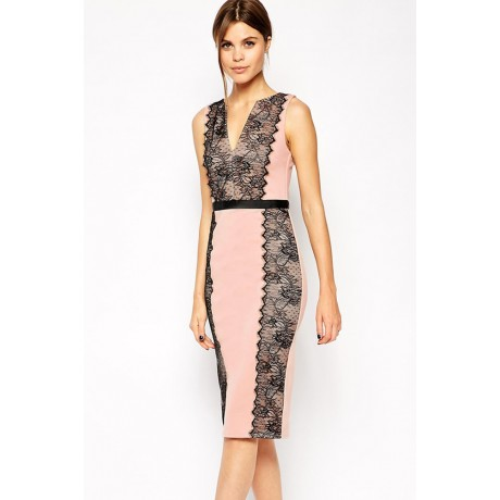 Lace Paneled Conscious Dress Pink