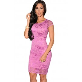Lace Surface Backless Bodycon Dress