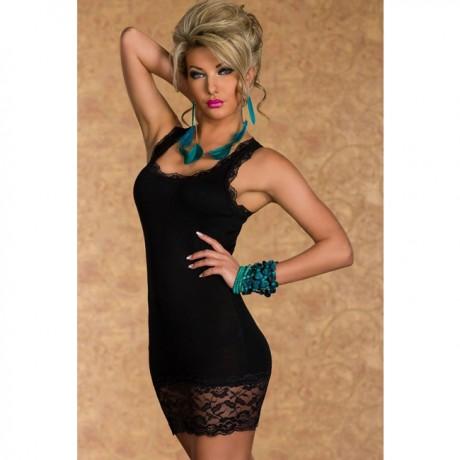 Lace Tank Top Mini bodycon Dress Black