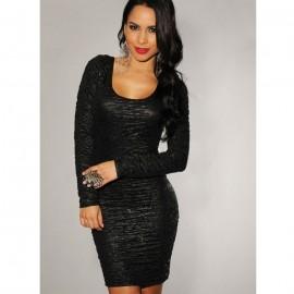 Round Neckline Textured Lace-Up Back Midi Dress Black