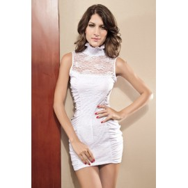 Sexy Two Side Lace Patchwork Mini Dress White