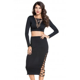 Black Lace up Long Sleeve Midi Skirt Set