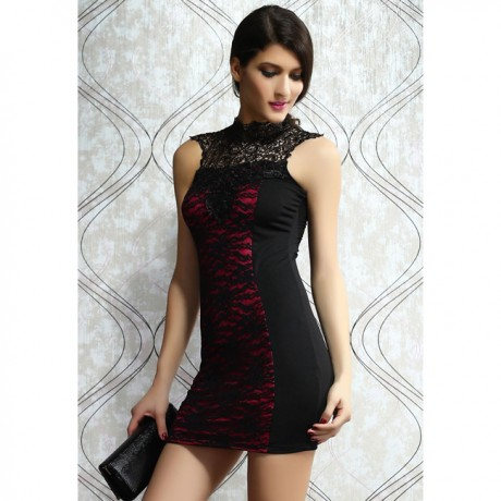 Sexy Detailing Embroidered Lacy Bodycon Mini Dress Rosy