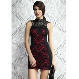 Rosy Lacy Bodycon Mini Dress