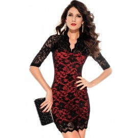Slim Lace Half Sleeves Mini Dress Red