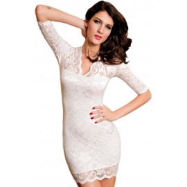 Slim Lace Half Sleeves Mini Dress White