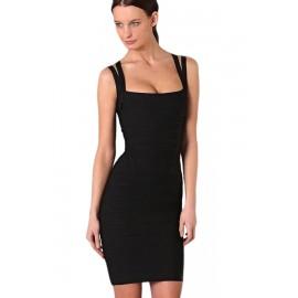 Latest Style Double Spaghetti Straps Bandage Dress Black
