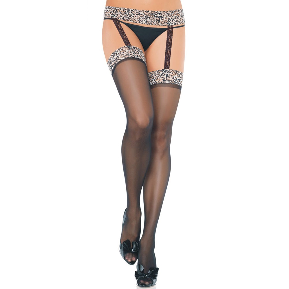 Leopard Suspender Thigh High Stockings Pantyhose