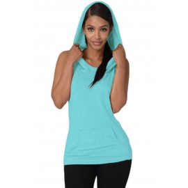 Light Blue Hooded Cross Back Vest Casual Top