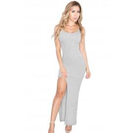 Light Grey Cami Slit Maxi Jersey Dress