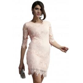 Light Peach Allover Lace Bodycon Mini Dress