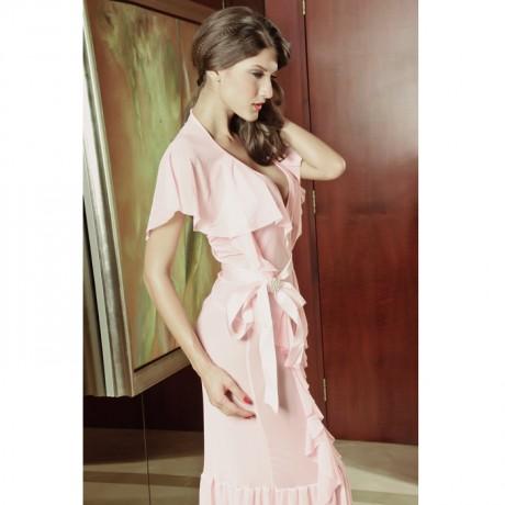 Long Ruffle Open Back Pink Gown