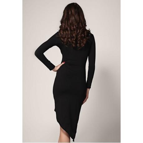 Night Club Long Sleeve Fashion Midi Dress Black