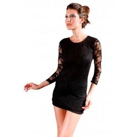 Lace Long Sleeve Mini Dress Black