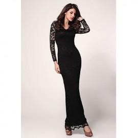 Elegantly Lace Long Sleeves V Neck Maxi Dress Black
