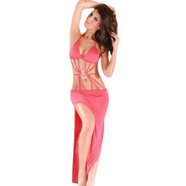 Exotic Strappy Front Halter Neck Long Gown With O-Ring Front