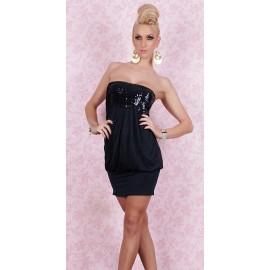 Strapless Sexy Mini Dress Wet Look Lace Black