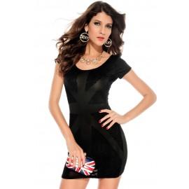 Lustrous Lace Mini Dress Black