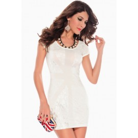 Lustrous Lace Applique Bodycon Club Mini Dress White