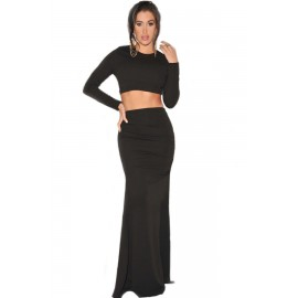 Two Piece Night Club Maxi Skirt Set in Black