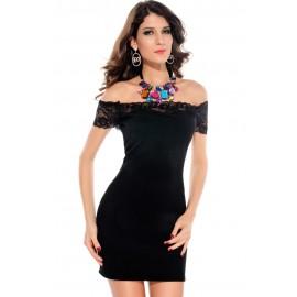 Megan off The Shoulder Lace Trim Bodycon Dress Black