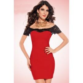 Megan off The Shoulder Lace Trim Bodycon Dress Red