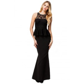 Ladies Tantalizing Mermaid Maxi Evening Gown Black
